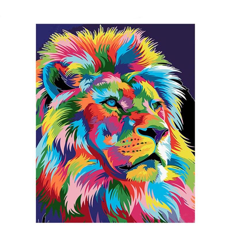 Cuadro de León diy de GATYZTORY, pintura acrílica con números de animales, pintura sobre lienzo para pared del hogar, regalo único, 40x50cm