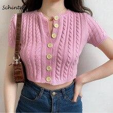Schinteon, camiseta para mujer, tejida Camiseta corta, cuello redondo sólido, cárdigan de manga corta, botón de punto, moda nueva