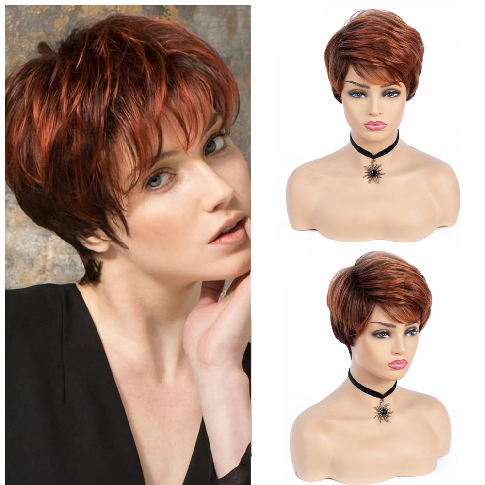 Women Short Red Brown Synthetic Wig Pixie Cut Wig With Bang For Women Daily Party Heat Resistant Fiber Wig Nature Looking Wig