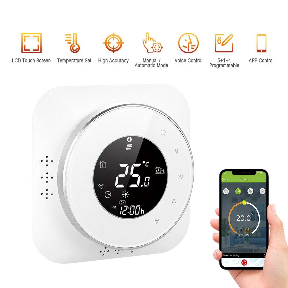 95-240 فولت منظم حرارة قابل للبرمجة 5 + 1 + 1 ستة فترات لمس LCD المرجل التدفئة منظم الحرارة المنزل متحكم في درجة الحرارة