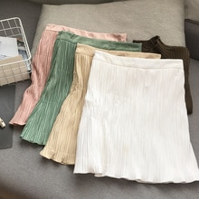 Simple Fresh Solid Color High Waist Slim Pleated A- line Skirt Temperament Female Fashion New Casual