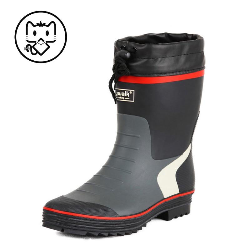 Botas de lluvia para hombre, botas bajas de goma, cubierta de zapato de moda, zapatos de goma antideslizantes, zapatos impermeables, zapatos de pesca al aire libre 2119