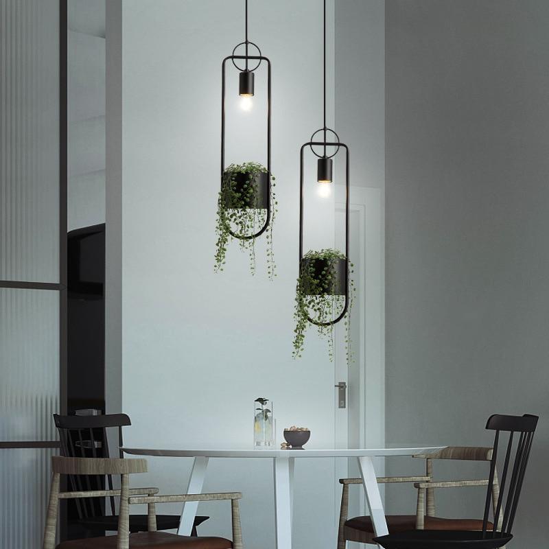 الحديثة الحديد النبات قلادة أضواء المنزل ديكو غرفة المعيشة المطبخ مصباح معلق الصناعية آرت ديكو مقهى غرفة الطعام تركيب المصابيح