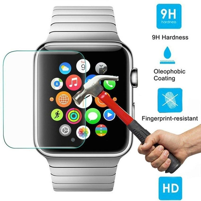 Protector de pantalla de vidrio templado Premium Ultra fino sensible a la transparencia para Apple Watch 38mm 42mm 100 unids/lote