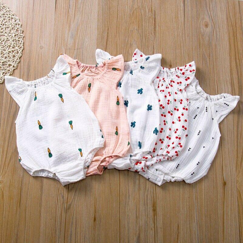 2020 Summer Toddler Infant Newborn Baby Girl Bodysuit Cactus Radish Cherry Sleeveless Clothing Playsuit Round Neck Jumpsuit