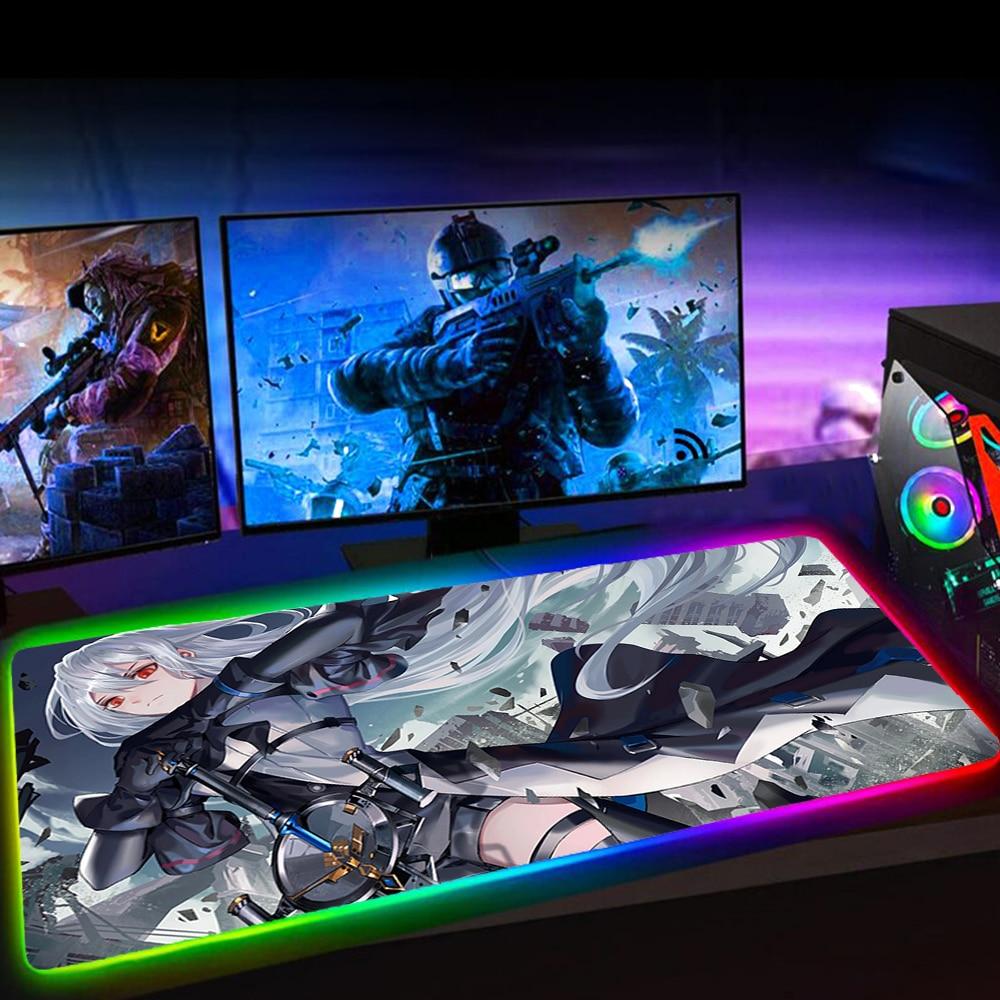 Коврик для мыши arknight RGB, компьютерные игровые аксессуары, коврик для мыши со светодиодной подсветкой, большой коврик для мыши XXL для настольн...