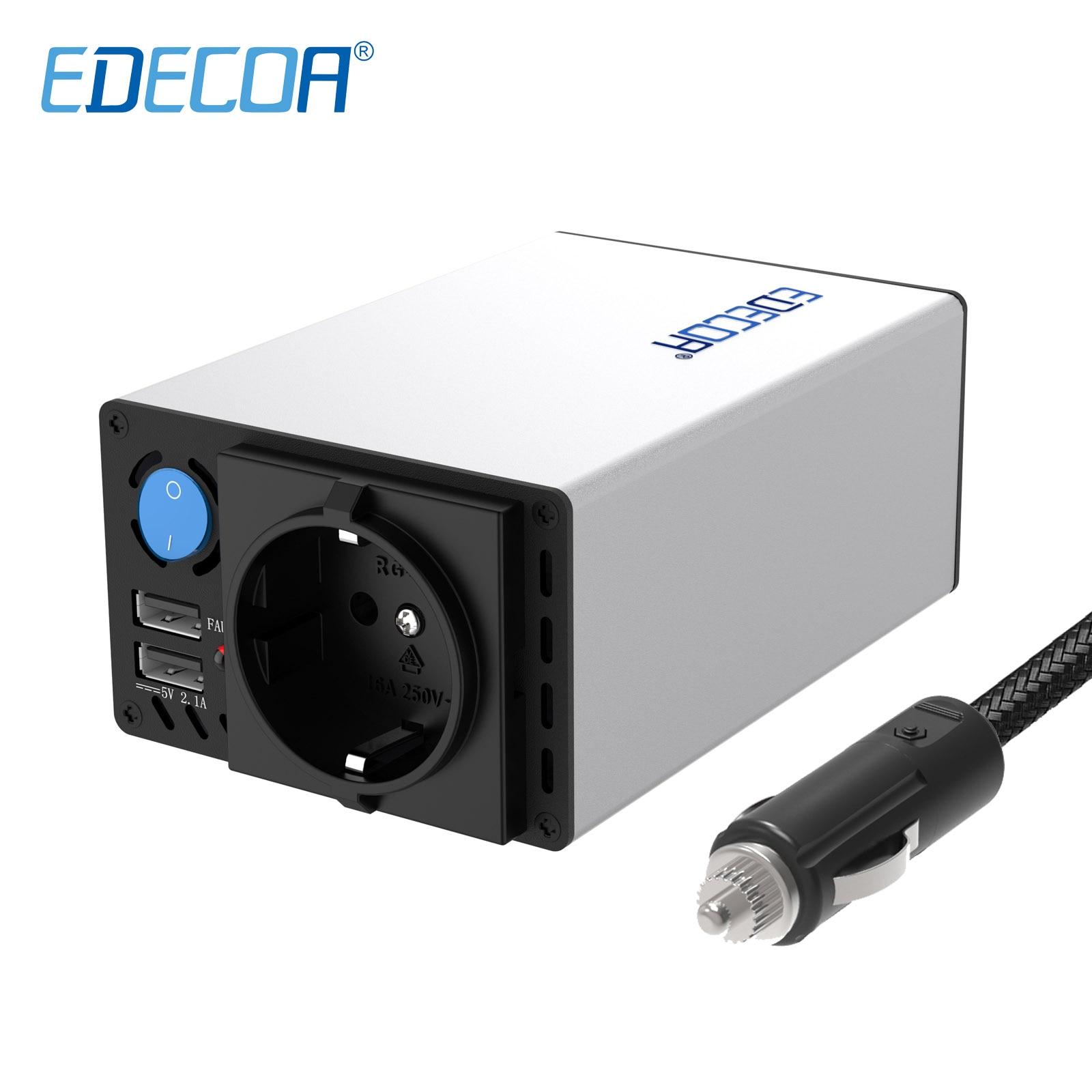 EDECOA 300W 600W inversor de corriente DC 12V AC 220V 230V 240V onda sinusoidal modificada 5V 2.1A inversor para automóvil USB con encendedor de cigarrillos