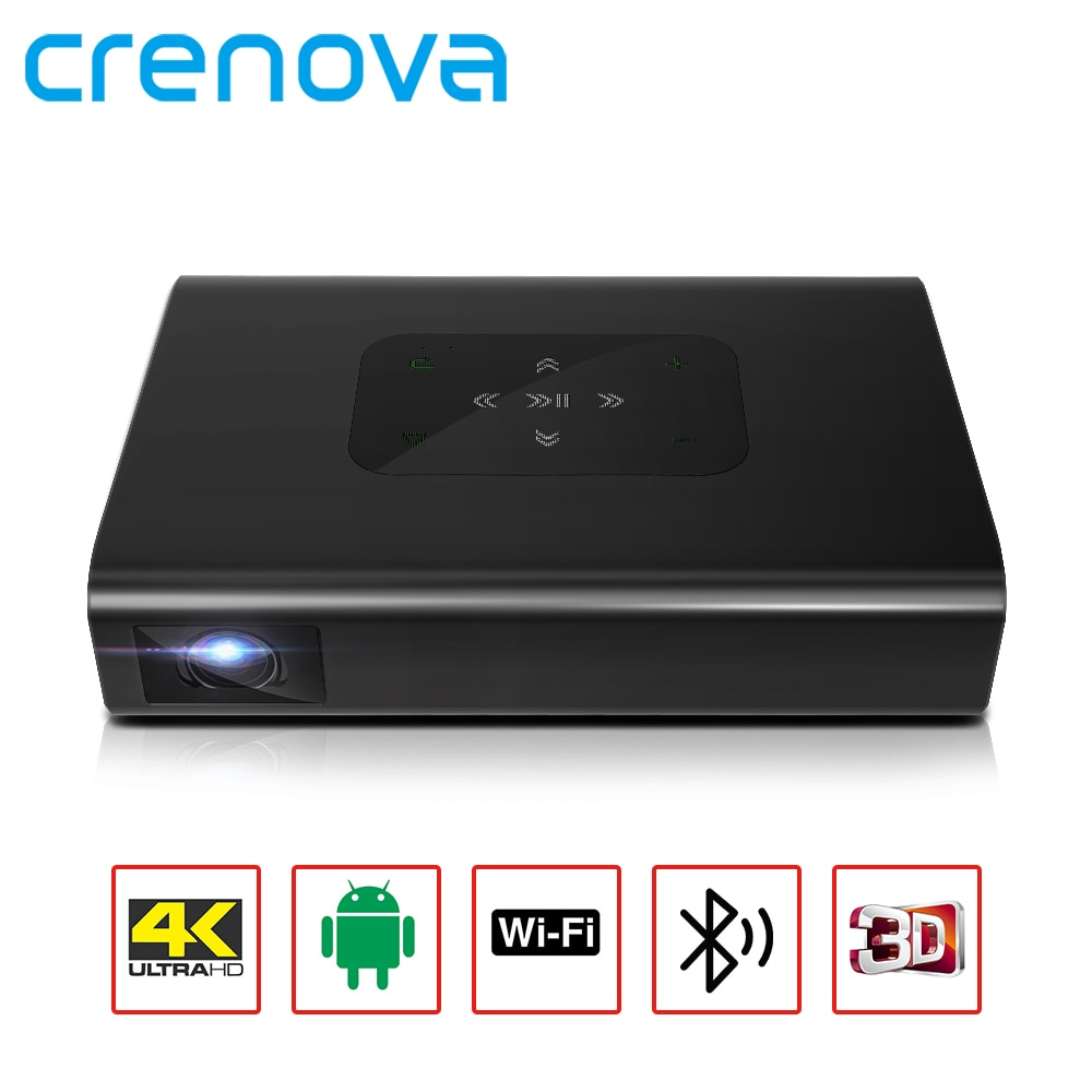 CRENOVA جهاز عرض صغير 4K X5, يأتي بنظام تشغيل أندرويد 6 ، وواي فاي ، وبطارية 10500 أمبير في الساعة ، 6000 لومن ، 300 بوصة ، 1080 بكسل ، محمولة ، فيديو DLP ، جهاز ...