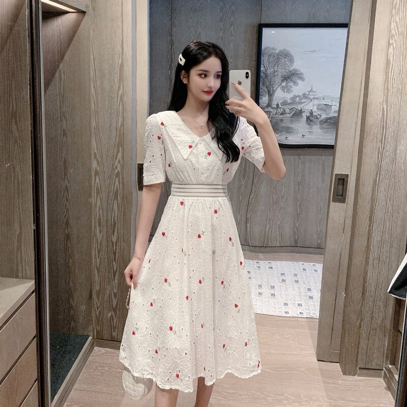 2021 Summer New French Style Cinched Slimming Short Sleeves Dress Women's Small High Waist White Mid-Length Temperament