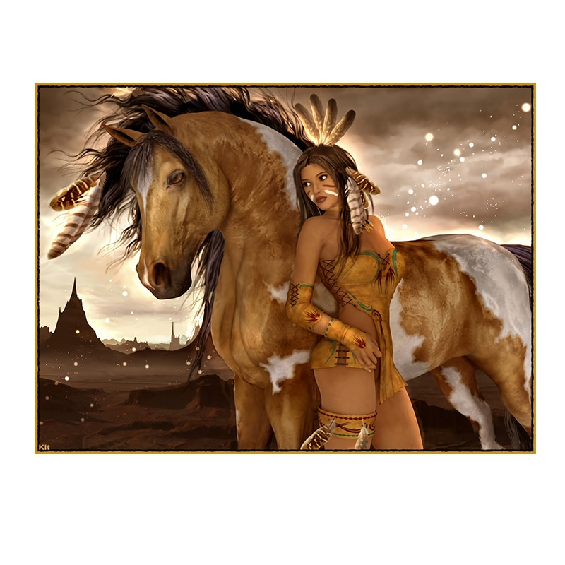 Girl with Horse Oil Painting