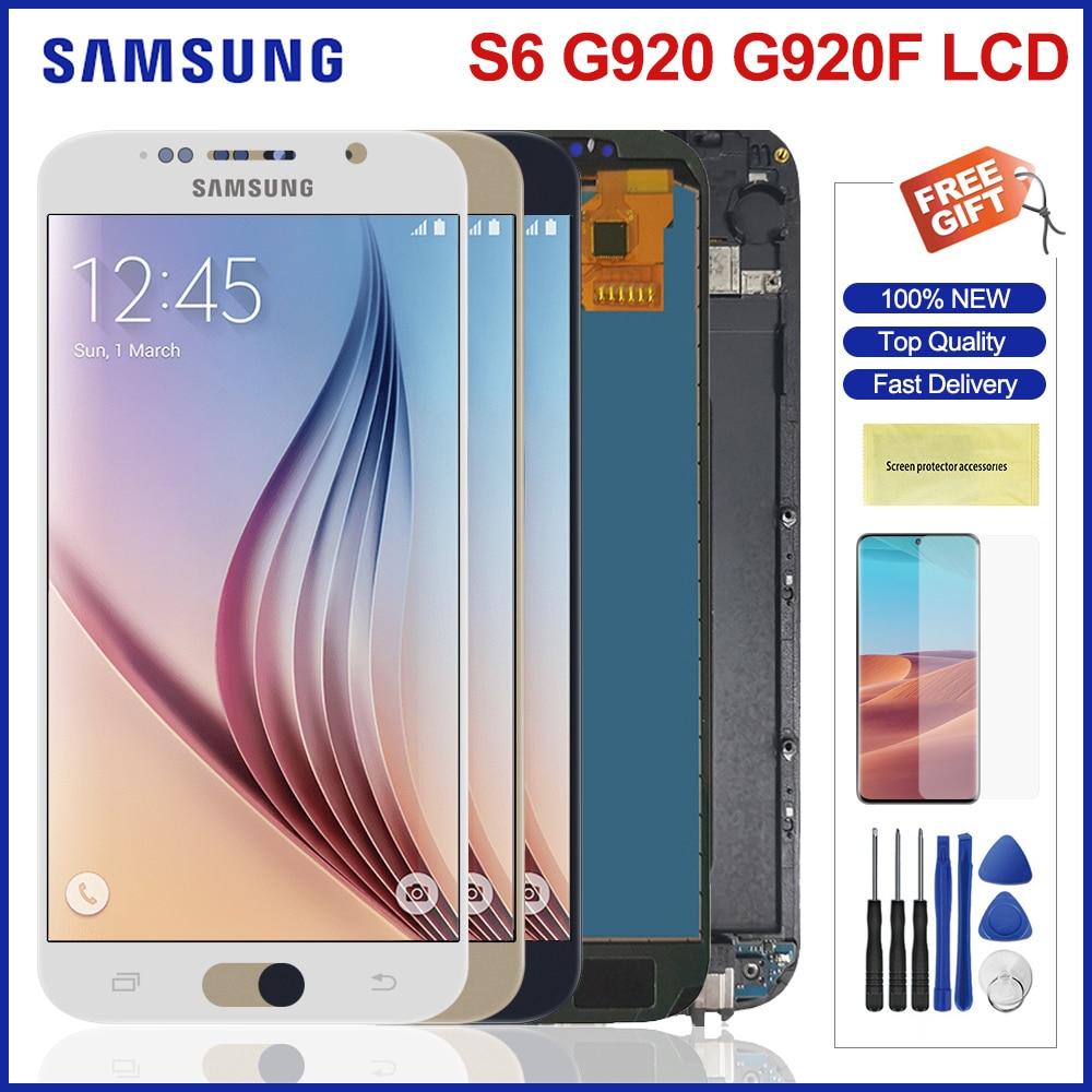 LCD لسامسونج غالاكسي S6 G920 SM-G920F G920F G920FD Lcd شاشة تعمل باللمس assesmly استبدال لسامسونج S6 G920 شاشات الكريستال السائل