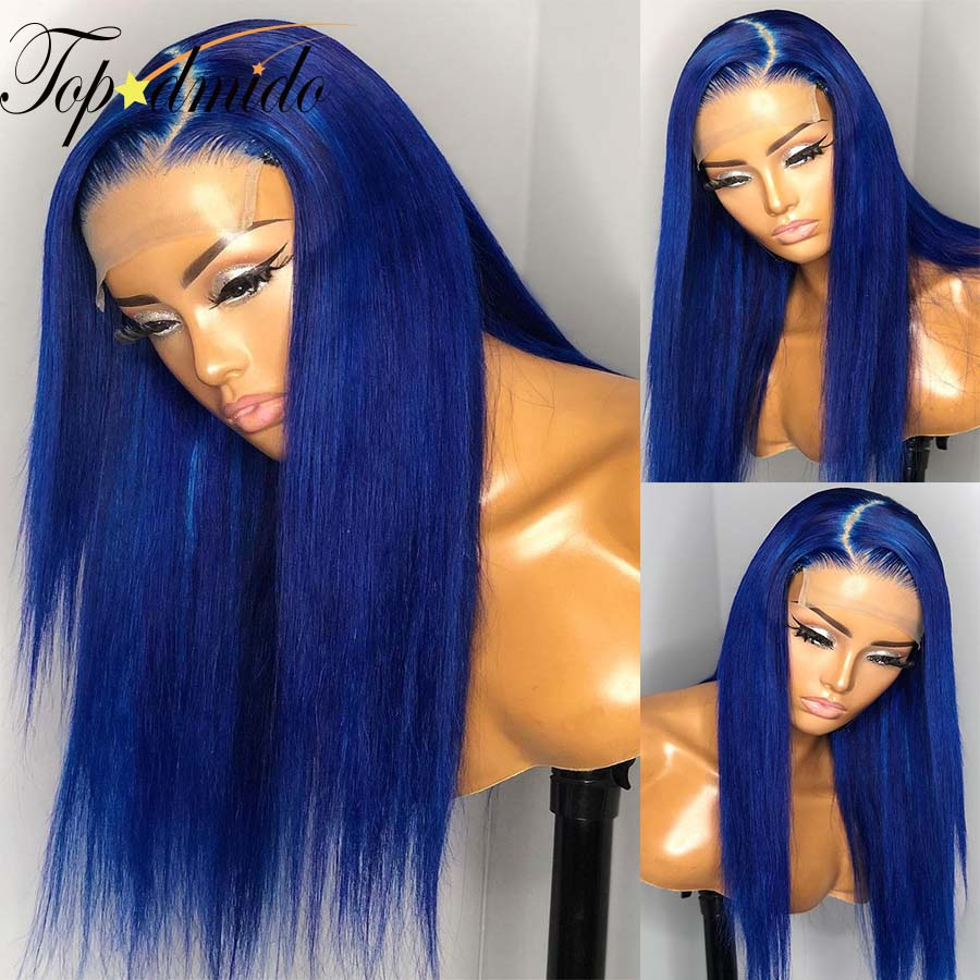 Topodmido Blue Color Lace Front Wigs for Women Peruvian Remy Hair 13x4 Lace Front Human Hair Wigs Pre Plucked Glueless LaceWigs