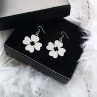 1 pair new flower cute personality silvery metal earrings for women characteristic jewelry party gift korean goth accessories