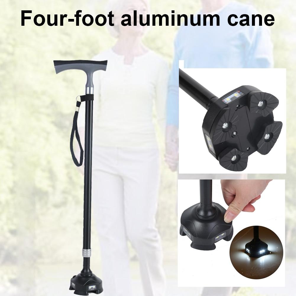 Bastón para caminar para hombre de cuatro patas, estable, resistente, de aleación de aluminio, Plegable, portátil, antigolpes, bastón de senderismo