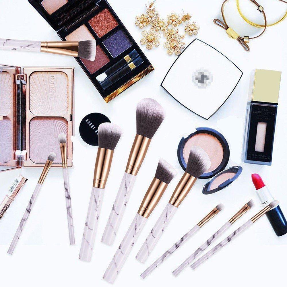 10pcs/Set Makeup Brushes Professional Marble Pattern Handle Portable Travel Eyeshadow Makeup Blush set