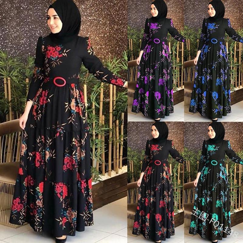 2019 Fashion Women Dress Muslim Abaya Islamic Full Sleeve Floral Flower Casual Autumn Ruffles Ladies Long Maxi Dresses