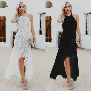 2021 women's elegant solid lace hollow out dress open back Free shipping