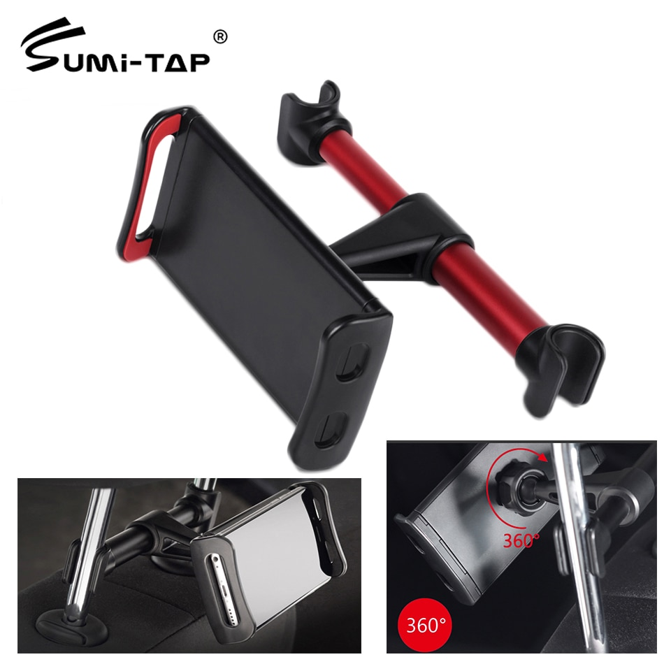 Sumitap Car Holder Stand Seat Rear Headrest Mount Support 360 Universal Bracket for IPhone IPad Samsung Xiaomi Car Phone Holders
