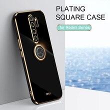 Custodia per telefono con supporto per anello quadrato per Xiaomi Redmi Note 8 Pro 2021 nuova Note8 8pro custodia protettiva in Silicone morbido di lusso