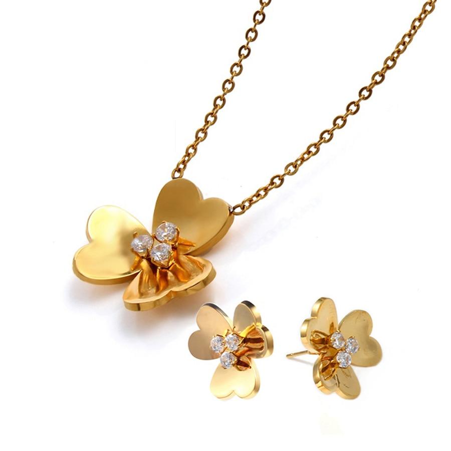 Collar trébol tres hojas pendientes trébol joyería de la suerte Set oro Acero inoxidable 3d flor joyería pendiente de pétalos San Valentín