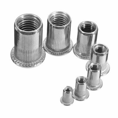50pcs/pack M6 304 Aluminum Alloy Rivnut Flat Head Threaded Rivet Insert Nutsert Cap Rivet Nut
