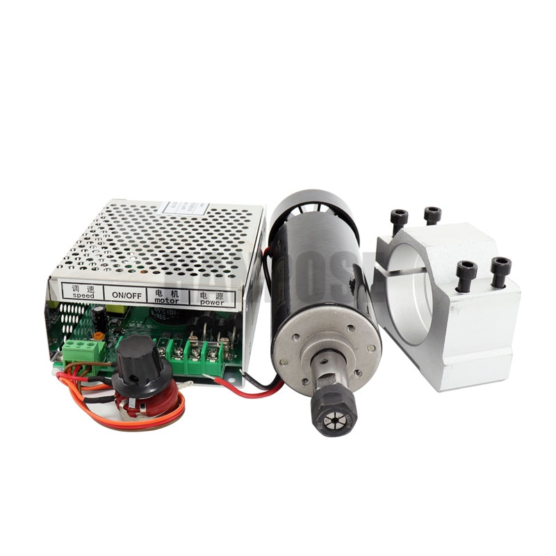 Free shipping 0.5kw Air cooled spindle motor ER11 chuck 500W Spindle dc Motor&52mm clamps&Power Supply speed governor For CNC enlarge