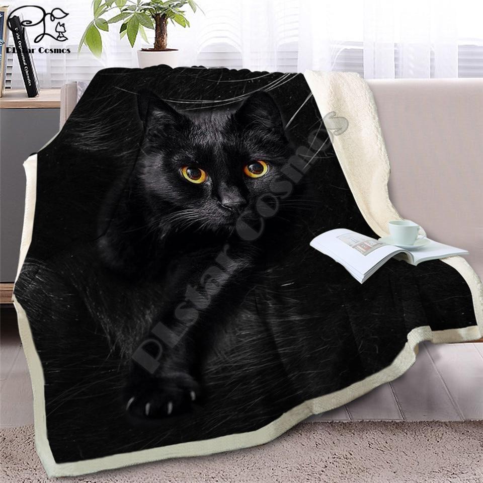 Chat gris jeter couverture sur lit 3D Animal en peluche Sherpa couverture animaux siamois couvre-lits fourrure impression mince couette livraison directe style-2