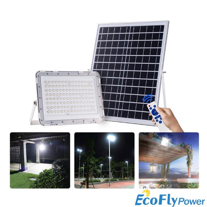 Solar Flood Light Waterproof 100W 200W 300W Led Spotlight Remote Control Outdoor Garden Path Street Lamp Courtyard Wall Lamp