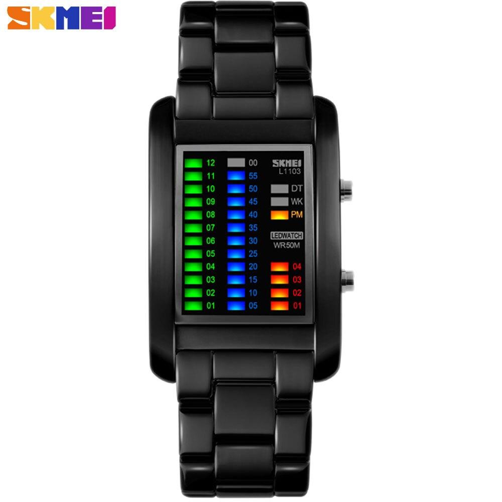 Nueva marca de relojes creativos de lujo para hombres, pantalla LED Digital colorida, relojes de pulsera rectangulares de moda de lujo, diagrama de reloj de calidad