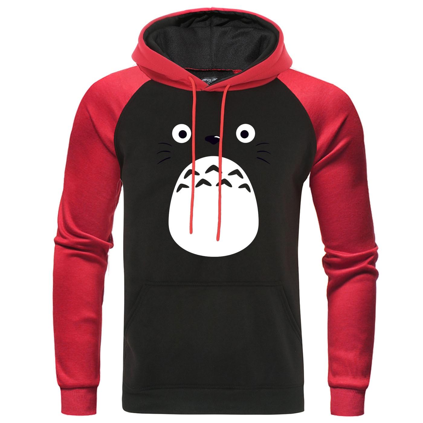 Homem raglan hoodies miyazaki hayao roupas dos desenhos animados anime japonês spirited away pullover studio ghibli moletom com capuz
