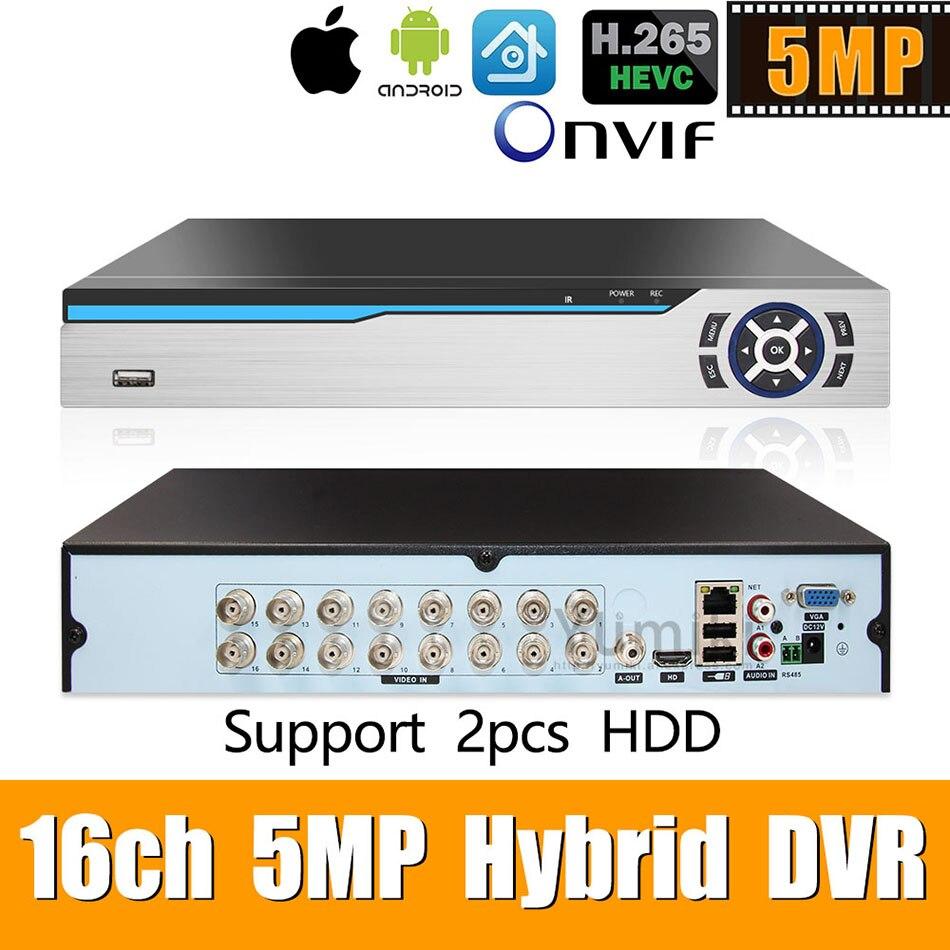 6 en 1 H.265 + 16ch AHD video grabador híbrido para 5MP/4MP/3MP/1080 P/720 P Cámara vmeyesuper de Onvif P2P CCTV DVR AHD DVR soporte USB wifi