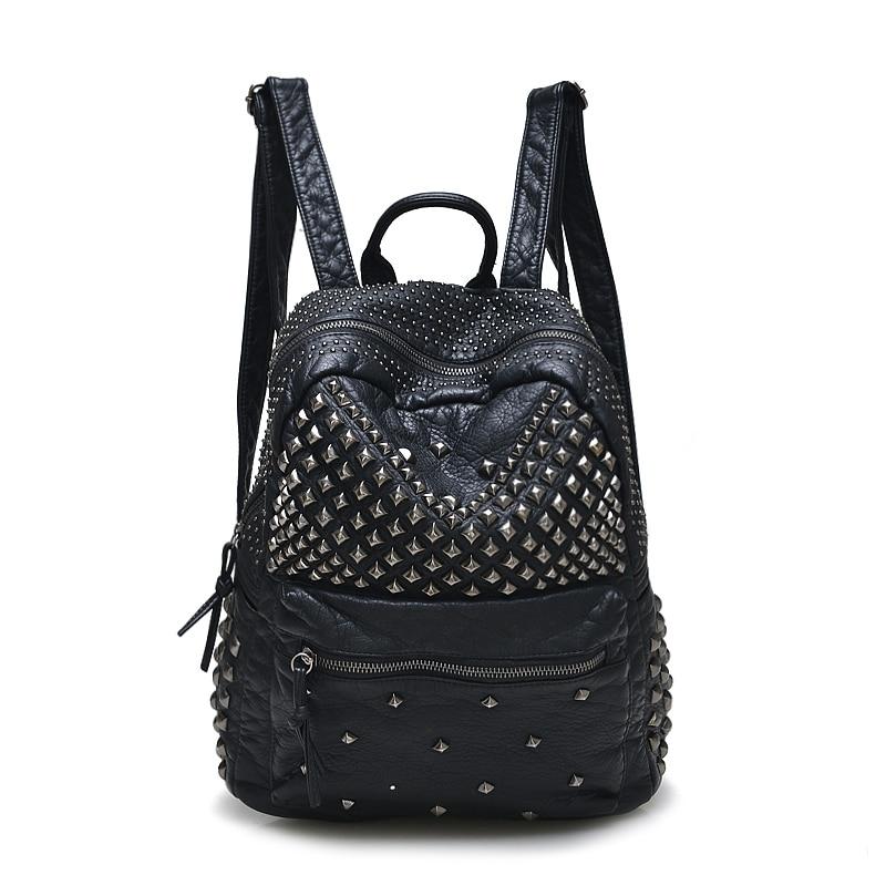 2021 New Fashion Women Backpacks Washed Leather Backpacks Lady Girls Travel Women Bags Rivet Backpacks Student School Bag Hot