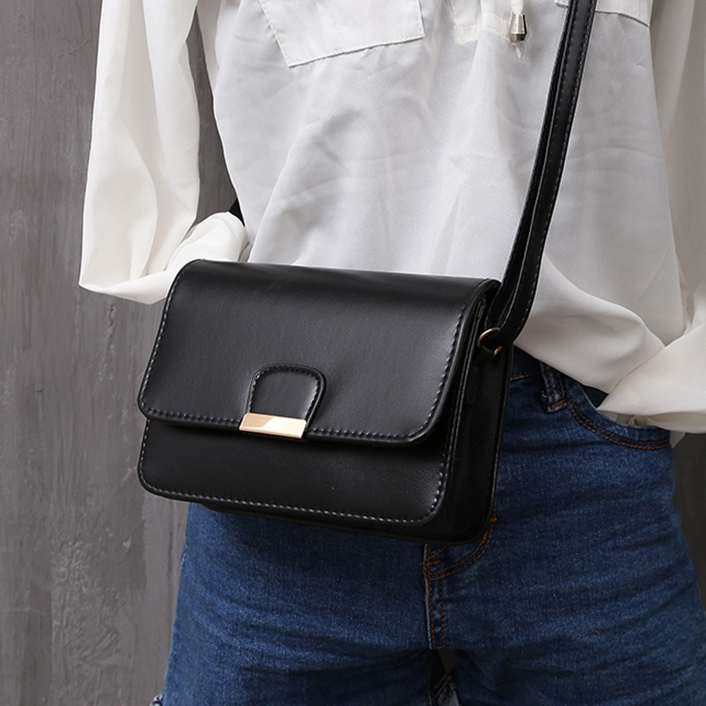 Bolso de cuero de moda sencillo para Mujer, bolsos de hombro tipo...