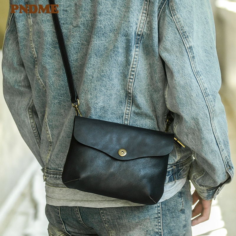 aetoo casual cowhide leather messenger bag small shoulder bag men mini bag genuine leather summer flaps phone bags PNDME casual daily natural genuine leather men small shoulder bag simple handmade real cowhide weekend party phone messenger bag