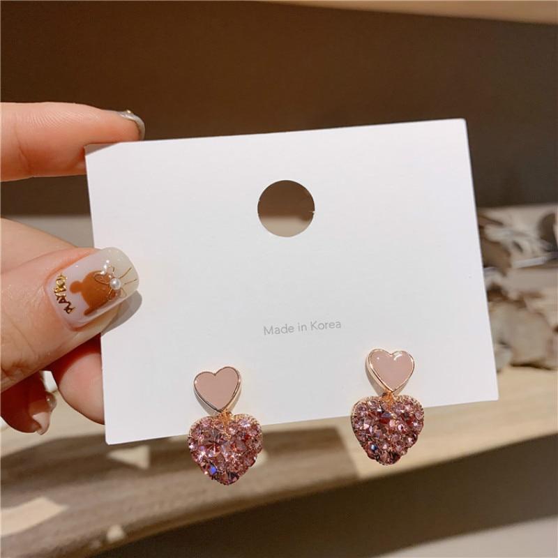 new Arrival  Metal Trendy Heart Women Dangle Earrings Love Earrings  Super Fairy Small Earrings Girl Female Simple Jewelry