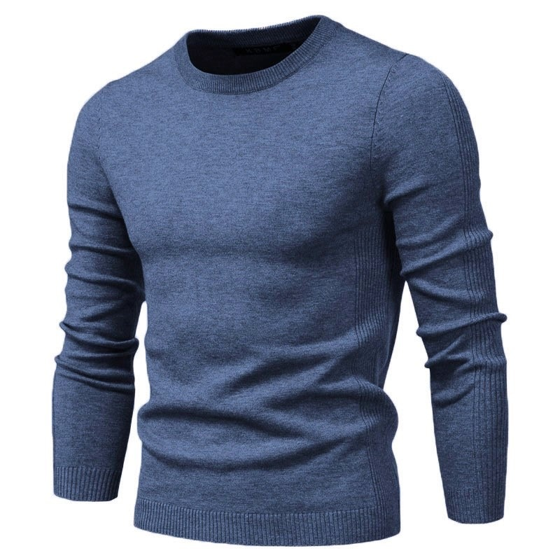 Новинка 2020, пуловер с круглым вырезом, мужской свитер, повседневный однотонный теплый свитер, мужские зимние модные облегающие мужские свит...