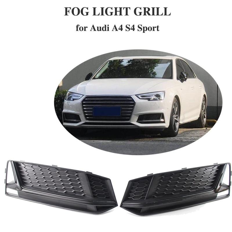 1 Pair Fog Light Cover Grille Grill Bezel Trim For-AUDI A4 S4 S-Line B9 2016-2018