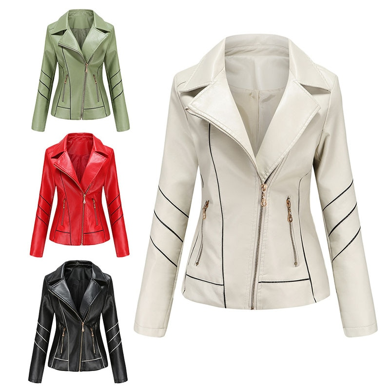 Long Sleeve Women's Thin Leather PU Jacket Spring Autumn Wish Motorcycle Clothing Zipper Pocket Street Jacket Women 2021 New B30