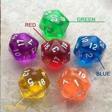 Dados poliédricos D20 de 20mm, 1 Uds., Romance, Color transparente, dado DND portátil Dnd, accesorios para juegos de mesa