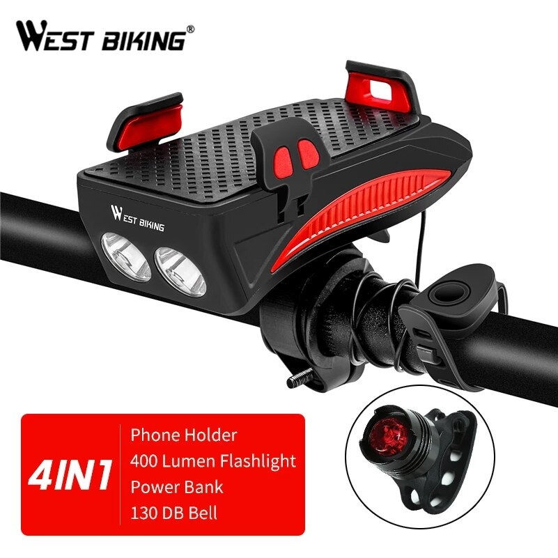 WEST BIKING 4 In 1 Bicycle Light Flashlight Bike Horn Alarm Bell Phone Holder Power Bank Bike Accessories Cycling Front Lamp MTB