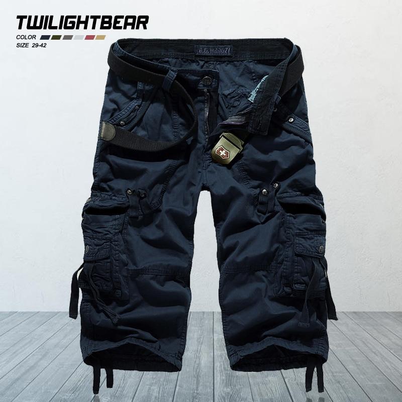 Pure Cotton Men's Cropped Trousers Designer Fashion Multi-pocket Oversized Casual Tooling Capri Pant