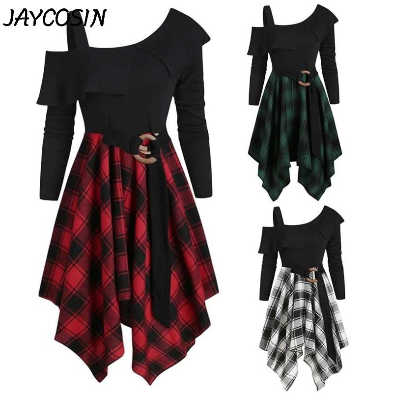 Vestido de mujer JAYCOSIN, vestido asimétrico de tartán de manga larga con cuello sesgado, vestido con cinturón, pañuelo, minivestidos acampanados