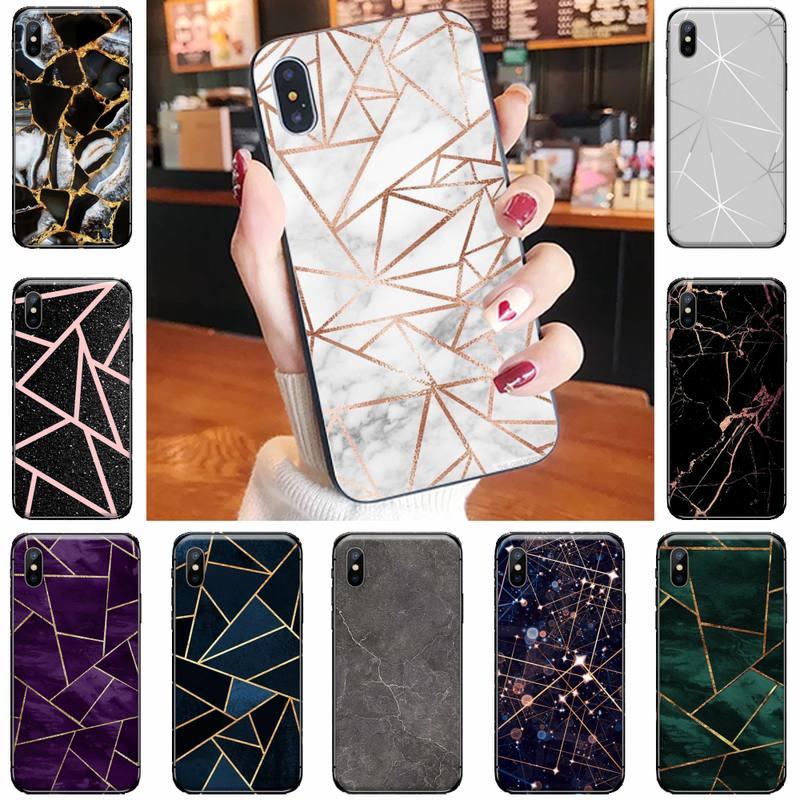 Marmor geometrische segmentierung Coque Shell Telefon Fall für iPhone 11 12 pro XS MAX 8 7 6 6S Plus X 5S SE 2020 XR