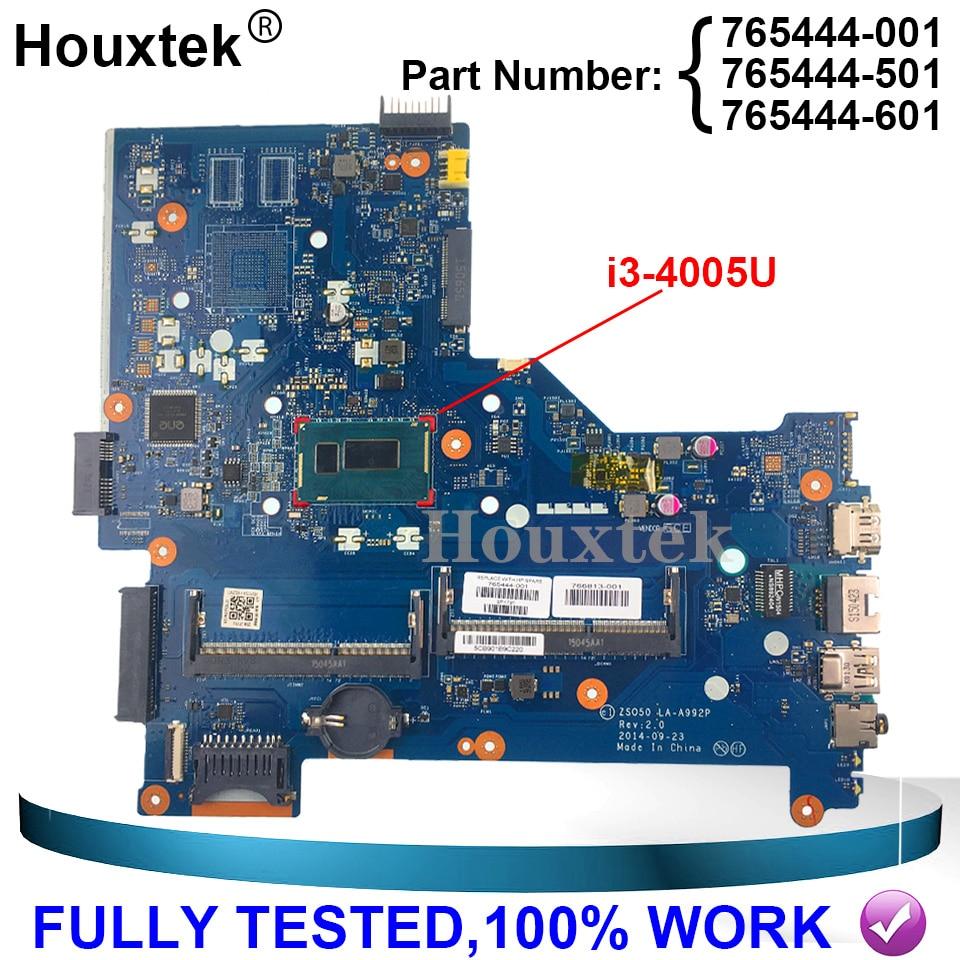 ZS050 LA-A992P اللوحة الرئيسية ل HP 15-R سلسلة اللوحة مع i3-4005U cpu UMA 765444-501 765444-001 765444-601