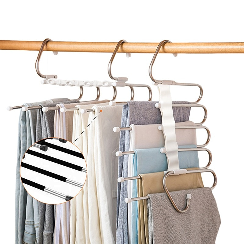 5 في 1 بانت رف شماعات للملابس المنظم رفوف متعددة الوظائف خزانة التخزين المنظم الفولاذ المقاوم للصدأ ماجيك شماعة بنطال