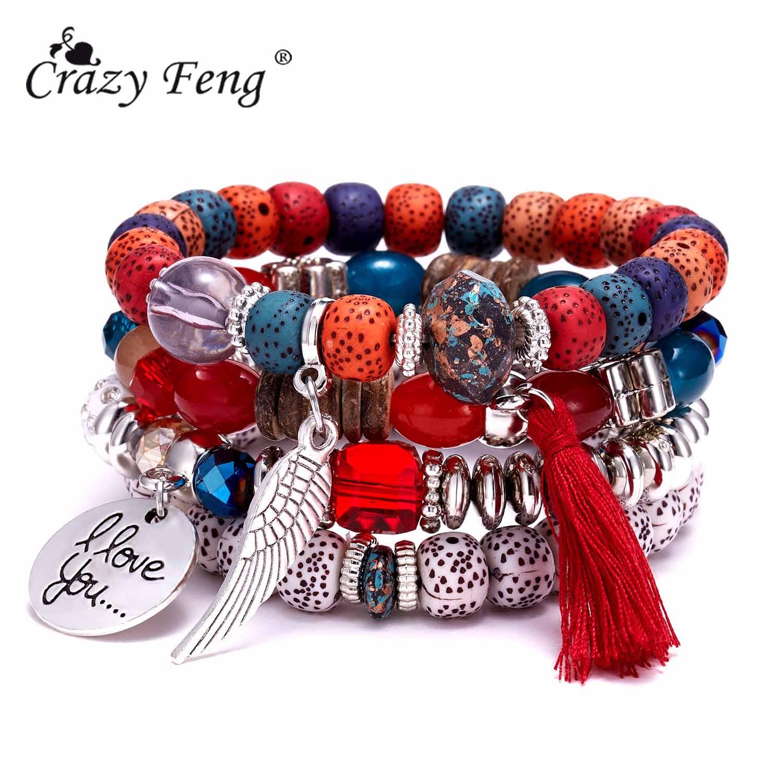 Женские браслеты с бусинами из натурального камня, с крыльями и кисточками, Набор браслетов, винтажные украшения в стиле бохо, 2019