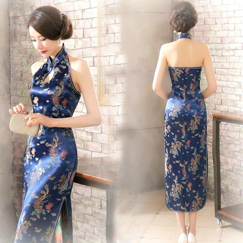 Китайское платье-Ципао без рукавов, с открытой спиной, 16 цветов