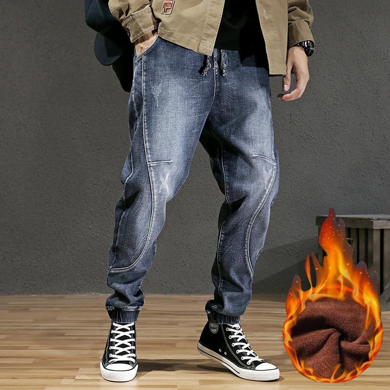 Moda de invierno Streetwear Jeans para hombre Pantalones vaqueros holgados Retro azul empalmado diseño Harem Jeans hombres pantalones Cargo Hip Hop terciopelo cálido Jeans