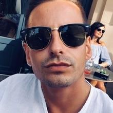 Semi-Rimless Steampunk Sunglasses For Men Driving Sun Glasses Metal Frame Grade Spectacles Luxury UV