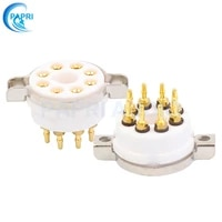 papri high quality ceramic k8a gold plated 8pin chassis mount tube sockets for 6sn7 el34 6sl7 6550 kt88 6p3p 6v6 350b etc tube